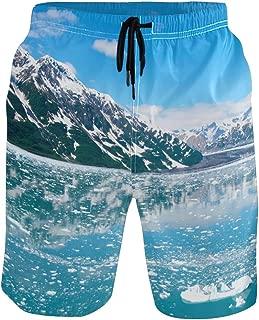 WIHVE Men's Beach Swim Trunks Alaska Glacier Lake Snow Mountain Boxer Swimsuit Underwear Board Shorts with Pocket