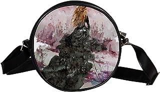 Coosun Wasserfarben-Schultertasche für Damen, Outdoor, Szene, Kunst, runde Umhängetasche, Schultertasche für Kinder und Fr...