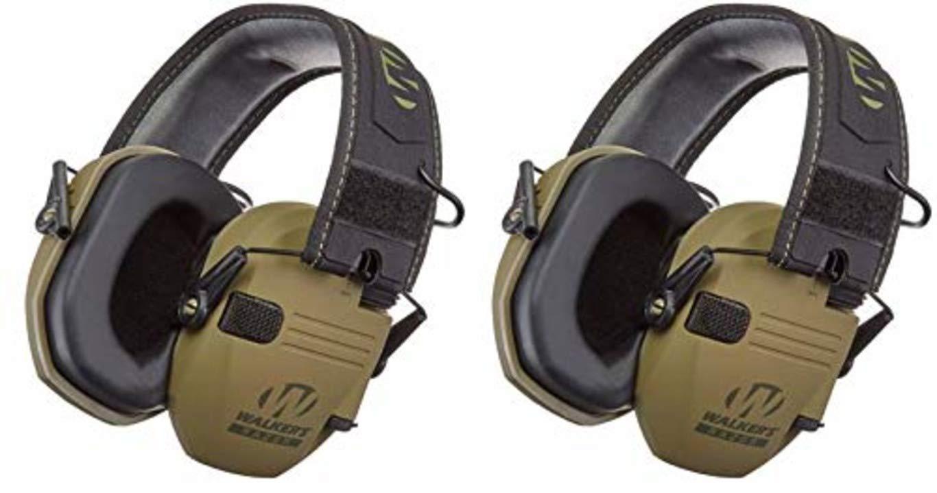 Walkers GWPRSEMPAT Razor Patriot Electronic Earmuff 23 dB Flat Dark Earth//America Patch 2 Pack