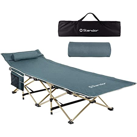 Home//Office Nap and Beach Vocation Portable Travel Camp Cots for Traveling Gear Supplier Double Layer Oxford Strong Heavy Duty Wide Sleeping Cots with Carry Bag Lilypelle Folding Camping Cot