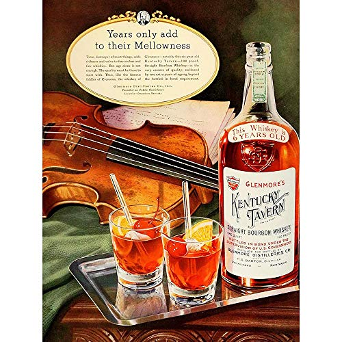 Wee Blue Coo Vintage Advert Alcohol Kentucky Tavern Bourbon Whiskey Glenmore Art Print Poster Wall Decor Kunstdruck Poster Wand-Dekor-12X16 Zoll