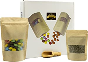 100 pcs Kraft Paper Bags with Window - Stand Up Food Storage Ziplock Pouch Bag, Resealable Seal Zipper Matt Small Treat Cookie Baked Goods Tea Bakery Rice for Packaging Brown 2 Different Sizes 6 x 4 in(40pcs) & 4x3 in(60pcs) & 1 Bamboo Wood Spoon