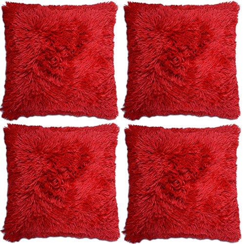 Adore 4 x Super Soft Faux Fur Cushion Cover Covers Cuddly Shaggy 43x43cm, Red