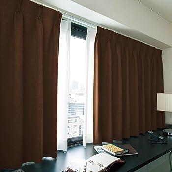 窓美人 エール 遮光性カーテン&UVカットミラーレース チョコレート(カーテン2枚/レース2枚) 幅100×丈90(88)cm 各2枚 カーテンフック付 洗える 省エネ