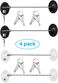 4 Pack Refrigerator Door Lock with Keys Adhesive Fridge Freezer Door Lock File Drawer Lock for Child Safety and Privacy, B...
