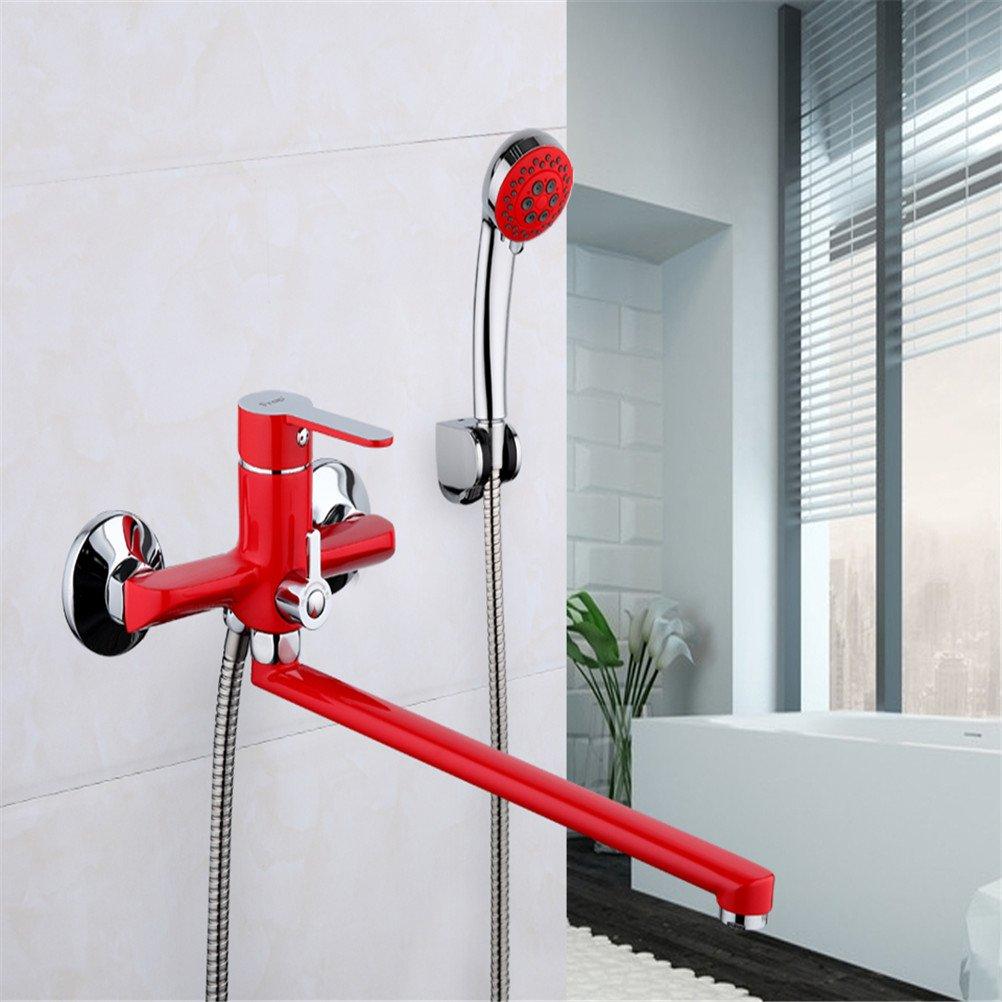 JERUI montado en la pared 35 cm rojo tubo de salida baño grifo de ...