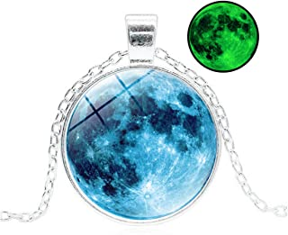 Magical Glow in The Dark Full Moon Link Chain Universe Galaxy Pendant Necklace White Gold Plated Unisex Luminous Jewelry Gifts