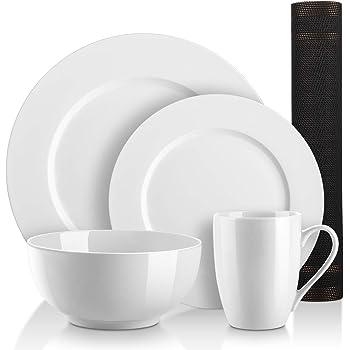 DOWAN 5 Piece Kitchen Dinnerware Set, Service for 1, White