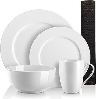 DOWAN 10 Pieces Kitchen Dinnerware Set, 4 Dishes, 2 Bowl, 2 Cup, 2 Placemat, Round