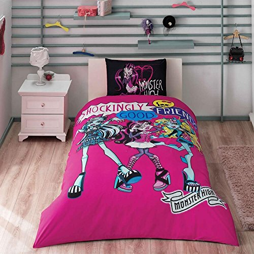 Original Juego de Funda de Edredón, diseño de Monster High, Para Cama individual, 100% algodón, 3 Piezas (funda de edredón + sábana ajustable + funda almohada)