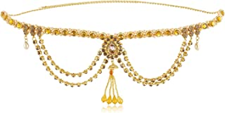 styling fashion Off-White and Gold Crystal Kamarband Belly Chains for Women (Golden)