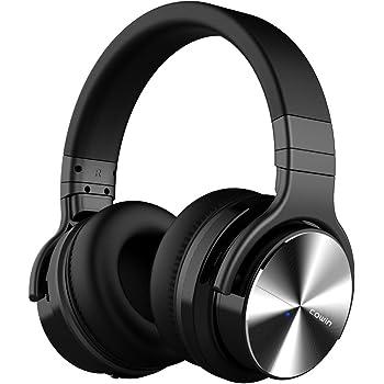 COWIN E7 PRO [2018 Upgraded] Active Noise Cancelling Headphones Bluetooth Headphones with Microphone Wireless Headphones Over Ear - Black (Renewed)