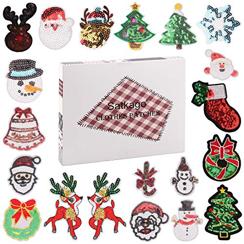 Satkago 20PCS Iron on Patches, Sequin Merry Christmas Style Embroidery DIY Patches for Jackets Backpack T-Shirt Jeans Snowman Santa Claus Xmas Christmas Party Clothes Costume Applique Accessory