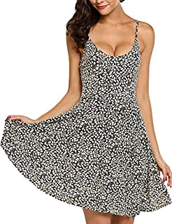 ACEVOG Women's Sleeveless Adjustable Strappy Summer Beach Floral Flared Swing Dress Casual Fit