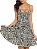 ACEVOG Women Summer Aline Casual Dress Floral Print Cotton Sleeveless Short Mini Dress Black M