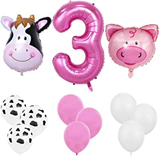 """Farm Animal 18pcs Balloon Pack for 3rd Birthday Party Decorations Supply - 40"""" '3' Foil Balloon, Pig/Cow Foil Balloon, 12""""..."""