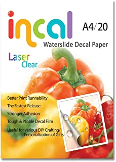 [Incal Paper] Waterslide Decal Paper LASER CLEAR A4(210x297mm) 20sheets, DIY Photo Printing Craft, Stronger adhesion/fast releasing, Pliable Decal Film
