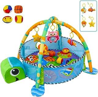deAO Parque de Juegos Infantil Corralito Feliz para Bebé Centro de Actividades Incluye Almacenamiento, Sonajeros, Móvil Y 4 Pelotas de Material Suave (Tortuga)