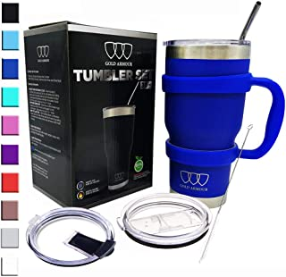 30 oz Tumbler - 6 Piece Stainless Steel Insulated Water & Coffee Cup Tumbler with Straw, 2 Lids, Handle - 18/8 Double Vacuum Insulated Travel Flask (Blue, 30oz)