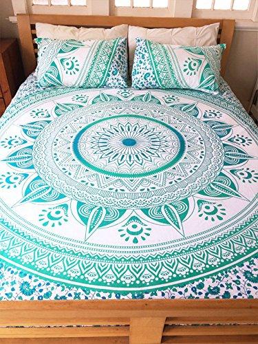 Sophia Art Twin Multi Couleur Vert ombré Mandala Parure de lit Housse de Couette Hippie Bohème Doona Coque avec taie d'oreiller
