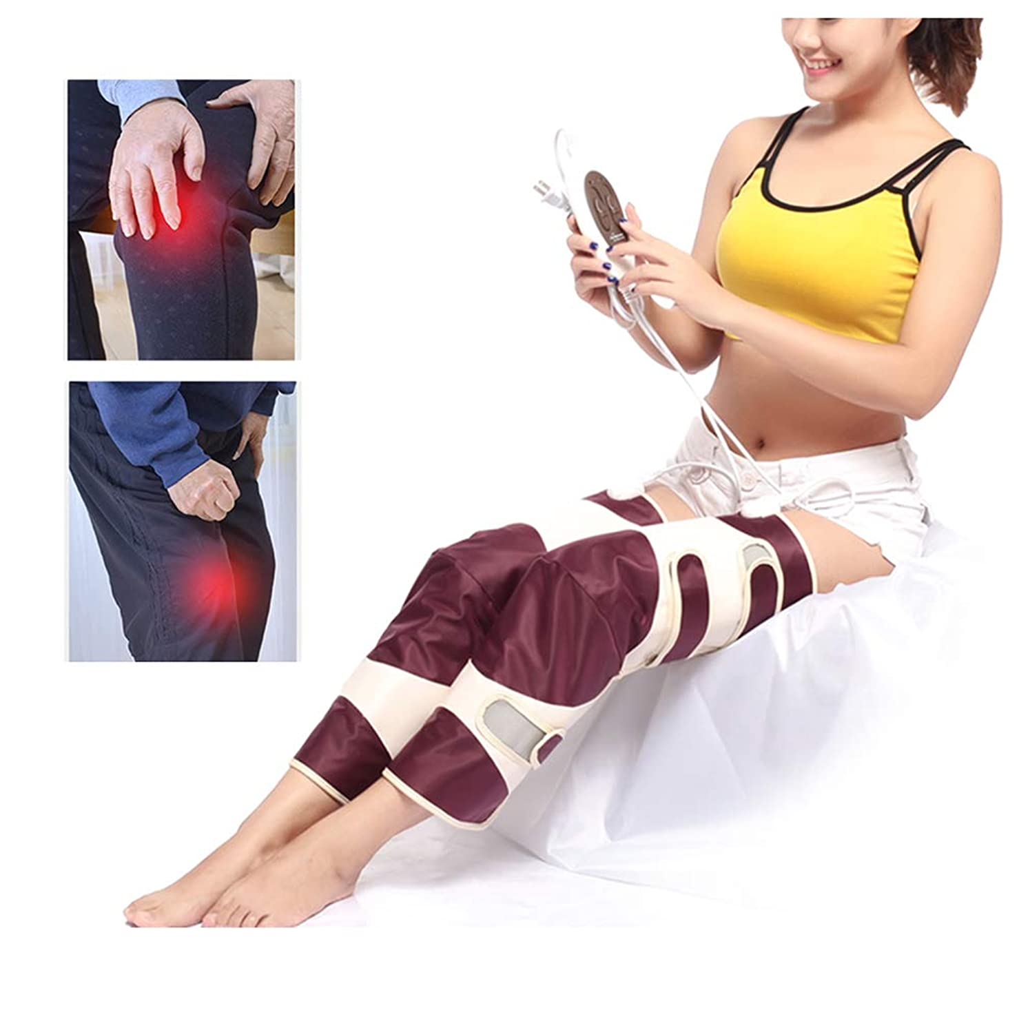 不利益予定全部膝の怪我、痛みを軽減するための電気加熱膝ブレースサポート - 膝温かいラップ加熱パッド - 遠赤外線治療マッサージャー
