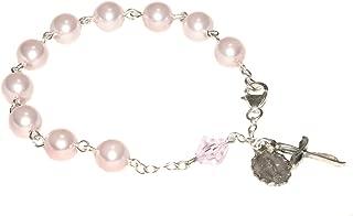 Womens Rosary Bracelet Made w/Pearlized Rosaline Pink Swarovski Crystals - Confirmation, RCIA, Valentine's, Birthday, Mother, More
