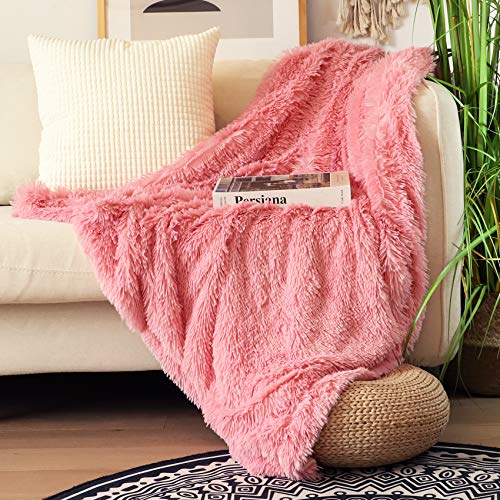 """Decorative Extra Soft Faux Fur Throw Blanket 50""""x60"""",Solid Reversible Fuzzy Double Layers Lightweight Long Hair Shaggy Blanket,Fluffy Cozy Plush Fleece Comfy Microfiber Blanket for Couch Sofa Bed,Pink"""