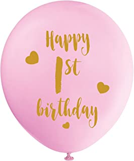 Pink 1st Birthday Latex Balloons, 12inch (16pcs) Girl Gold Happy First Birthday Party Decorations Supplies