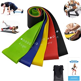 Elastici Fitness Set per Gambe e Glutei Hotniu Set di 5 Fasce di Resistenza Elastiche Fitness Set per Fitness Yoga Crossfit Fasce in Lattice Naturale