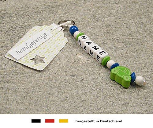 Naamhanger - hanger met naam - baby kinderen sleutelhanger voor luiertas, kleuterschooltas, schooltas of rugzak met sleutelring - jongens motief auto in groen