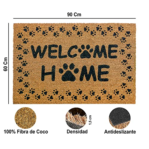 Felpudo de Coco Entrada Casa   Exterior, Interior para Recibidor, Oficina o Tienda   Fibra de Coco y Antideslizante  Tamaño 60x90 cm Grande  Original, Duradero, Absorbente, Resistente