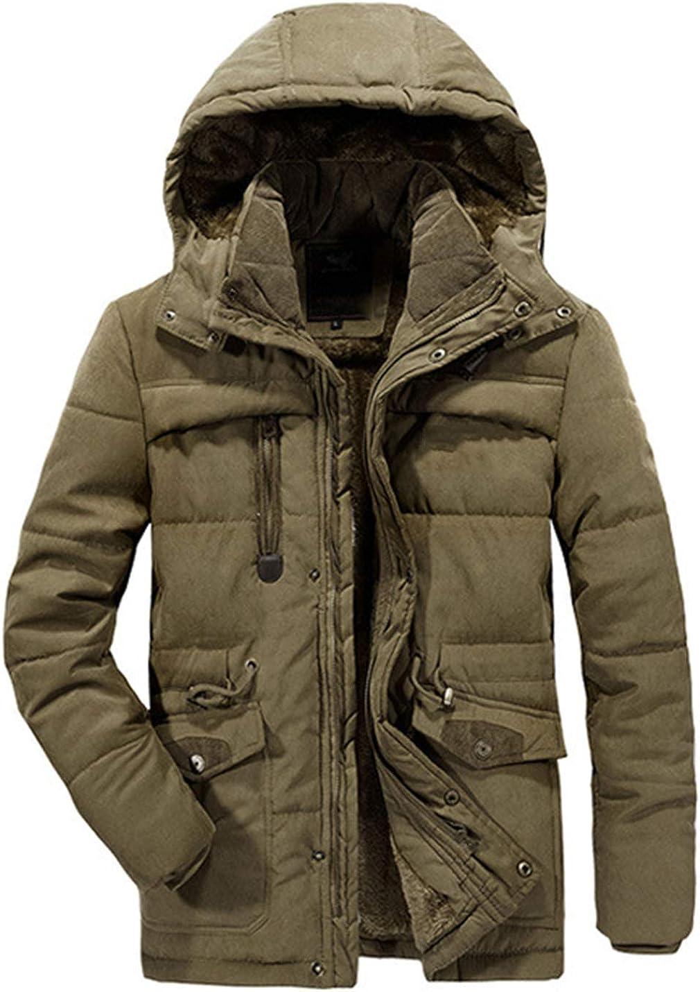 Uaneo Mens Casual Loose Thick Detachable Hood Fleece Sherpa Lined Chuncky Parka Jackets(Brown-XXL)