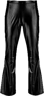 ACSUSS Men's PVC Leather Night Club Metallic Pants Straight Leg Trousers Plus Size