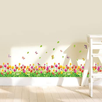Baseboard Green Grass Meadow Wall Art Stickers with Colourful Flowers /& Butterflies Removable DIY Vinyl Wall Decal Multicoloured Decorative Mural for Living Room Children/'s Bedroom