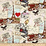 Timeless Treasures 0333526 Paris Collage Quilt Fabric By The Yard, Antique