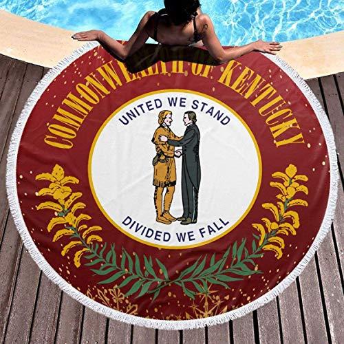XIUZHEN Kentucky Flags Toalla de Playa Redonda Manta de 59 Pulgadas Mantel de algodón Toalla de Picnic Estera de Yoga para Adultos/niños