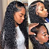 Brazilian Water Wave Lace Front Wigs Human Hair with Baby Hair Pre Plucked Glueless Natural Wave 13X4 Lace Wigs for Black Women 100% Unprocessed Virgin Human Hair Wet and Wavy Easy to Manage Curly Wig