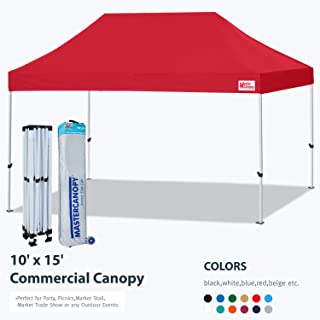 MASTERCANOPY Pop Up Canopy Tent 10x15 Commercial Instant Canopies with Heavy Duty Roller Bag,Bonus 4 Canopy Sand Bags (10x15 Feet, Red)