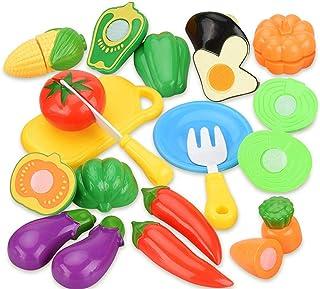 مجموعة العاب الطعام للاطفال من اميرتير، 14 قطعة من الفواكه القابلة للتقطيع والخضار، مجموعة ادوات المطبخ، العاب للتعلم، الا...