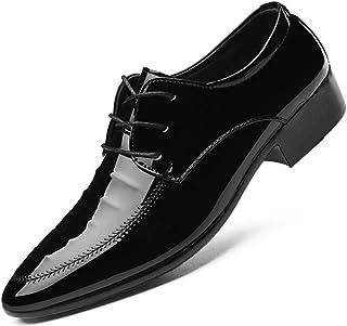 Zapatos cuero para hombre, con cordones, puntera puntiaguda, suela de goma plana brillante, vestido formal, zapatos negoci...