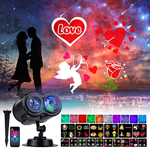 Holiday Projector Lights Outdoor 26 HD Effects (3D Ocean Wave & Patterns) Waterproof with RF Remote Control Timer for Valentine's Day Indoor Night Gathering Disco Party, RGB + Multicolor