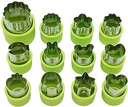 Elenxs 12pcs/Set Stainless Steel Fruit Floral Shape Cutter Salad Carving Vegetable Mold Kitchen Tools Cookie Fondant
