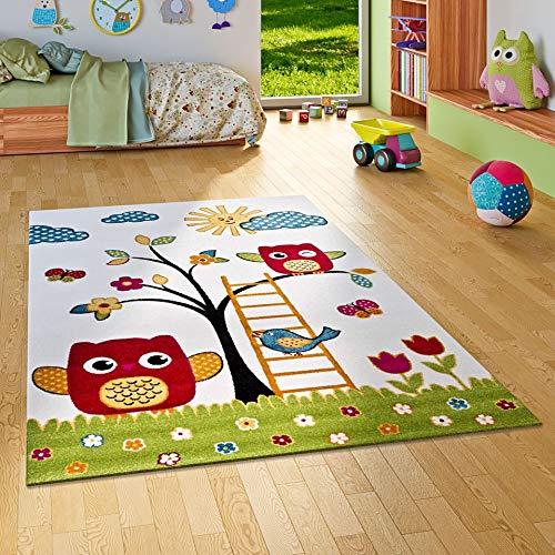 Savona Kinder Teppich Kids Glückliche Eulenwelt Creme in 5 Größen