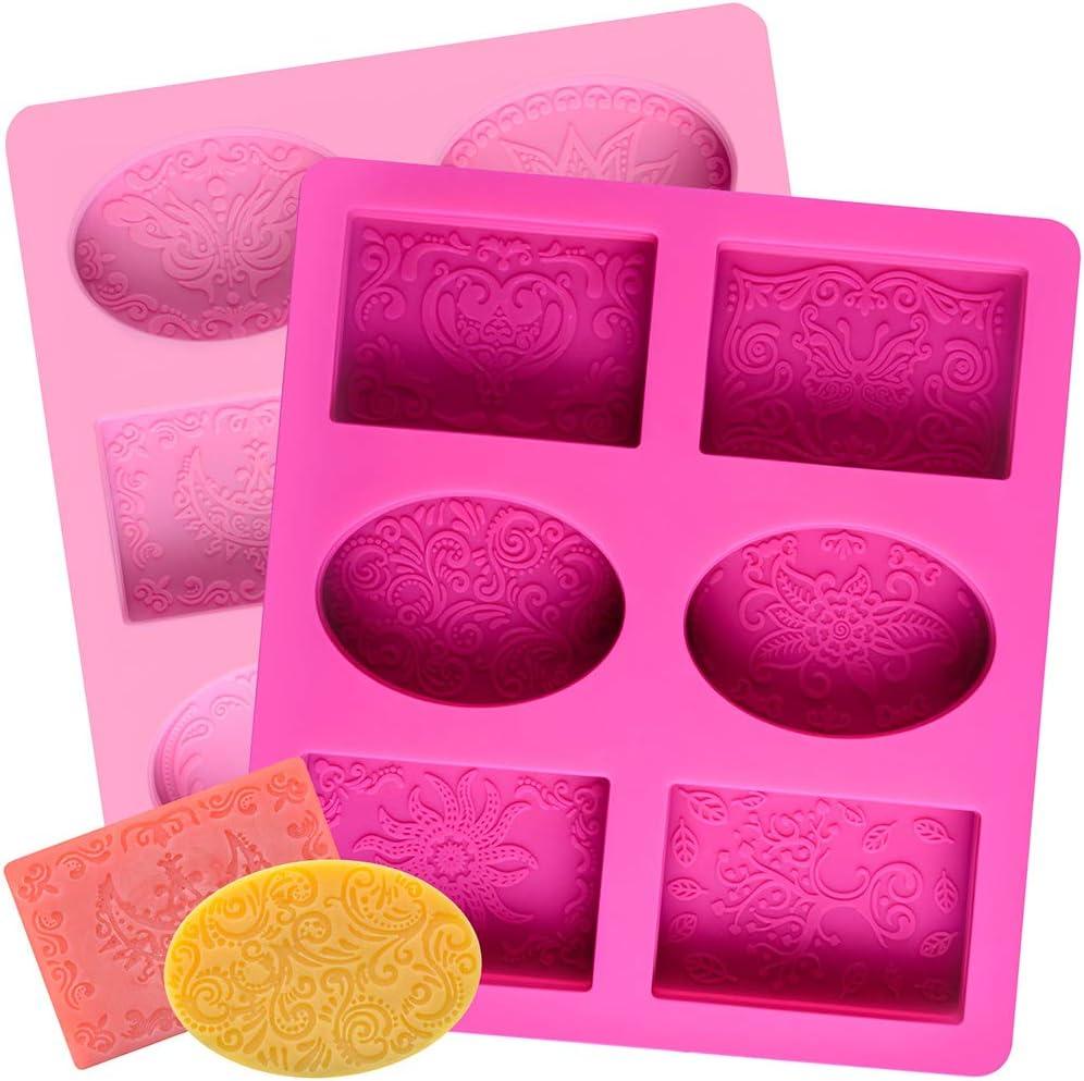 2 Pcs SJ Silicone Soap Molds Under blast sales Patterns Oval 12 Rectangle Silic shipfree