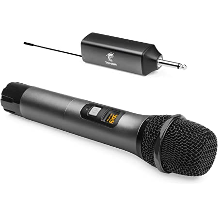 Wireless Microphone, TONOR UHF Metal Cordless Handheld Mic System with Rechargeable Receiver, for Karaoke, Singing, Party, Wedding, DJ, Speech, 200ft (TW-620)