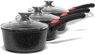 Jonas Batería de Cocina con 3 Cacerolas con Tapas con Revestimiento Piedra sin PFOA Antiadherente - Diámetros: 16/18/20 cm - Inducción, Gas, Eléctrica, Vitrocerámica y Horno - Mangos Extraíbles