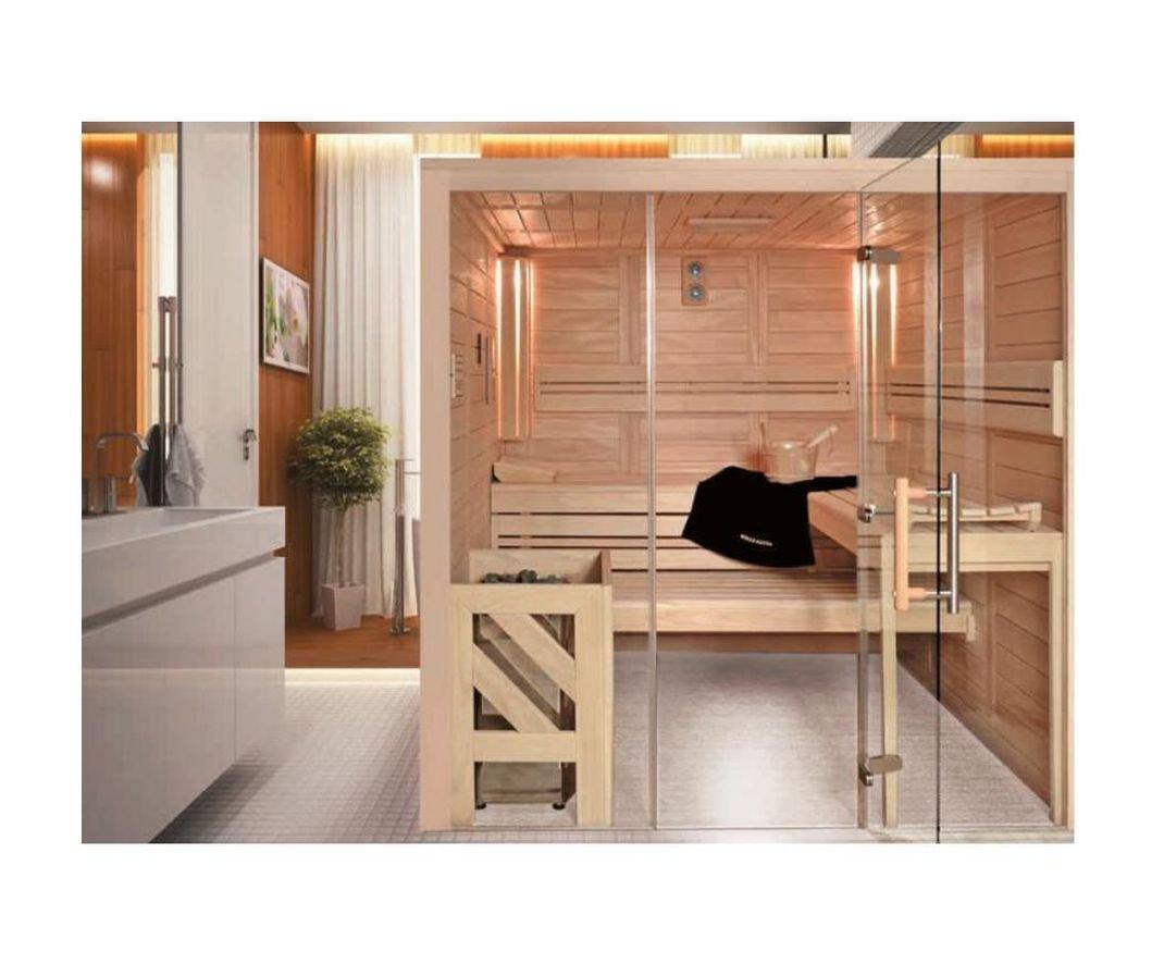 WILLE Merano visione Sauna Completo Madera Maciza 45 mm con montaje 194 – 270 cm Derecho 211 x 236 cm con montaje: Amazon.es: Bricolaje y herramientas