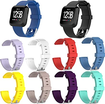 TDRTECH Compatible with Fitbit Versa Band with Stainless Steel Clasp, Replacement Soft Silicone Band Strap for Fitbit Versa, Pack of 10 Hot Color