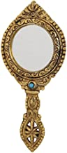 Hand Mirror Double Sided Antique Golden Finish Round Shape Carved in Metal by Handicrafts Paradise