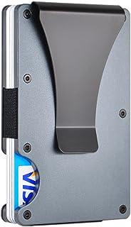 RFID Slim Minimalist Metal Wallet with Money Clip - Aluminum Credit Card Holder Wallet Organizer for Men Women (1-Grey)